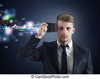 homem negócios, actualização, memória