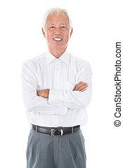 homem negócios, adulto sênior, chinês, asiático