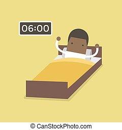 homem negócios, africano, acorde-se, early.