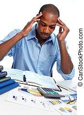 homem negócios, africano-americano, stress., tendo