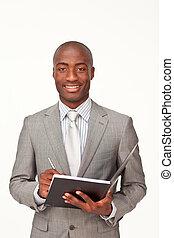 homem negócios, afro-american, anota escrita