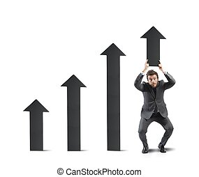 homem negócios, ajudas, estatística