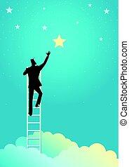 homem negócios, alcance, para, a, estrelas