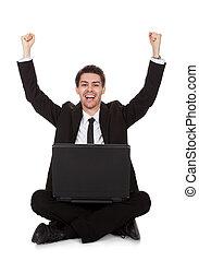 homem negócios, alegre,  rejoicing