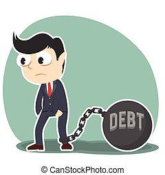 homem negócios, amarrada, com, dívida, ferro, bola