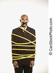 homem negócios, amarrada, rope.