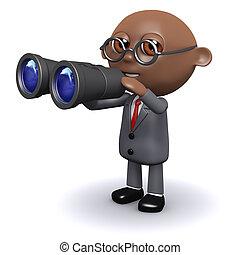 homem negócios, americano, 3d, procurar, africano
