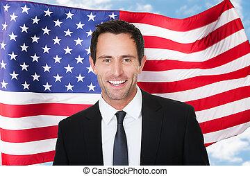 homem negócios, americano