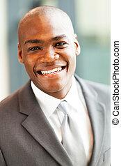 homem negócios, americano, closeup, africano