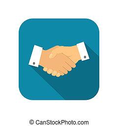 homem negócios, aperto mão, ícone