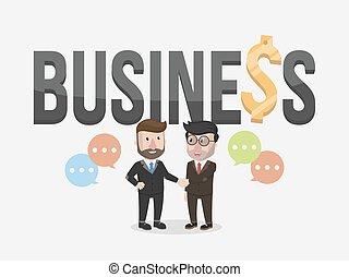 homem negócios, aperto mão, dois