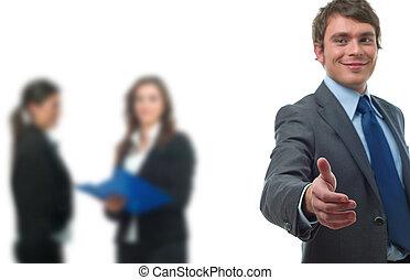 homem negócios, aperto mão