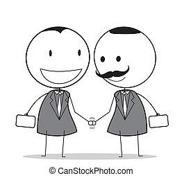 homem negócios, aperto mão, sênior