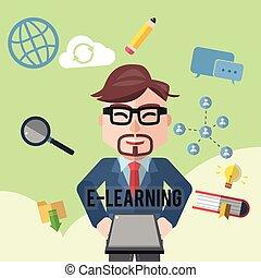homem negócios, aprendizagem, apartamento, cor
