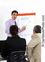 homem negócios, apresentação, fazer