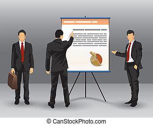 homem negócios, apresentação, ilustração