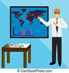 homem negócios, apresentação, ilustração, fazer