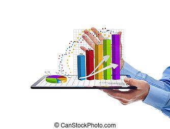 homem negócios, apresentando, a, relatório anual, gráficos, -, isolado