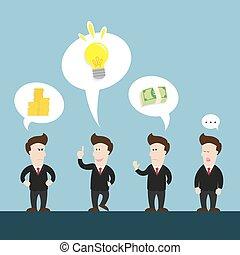 homem negócios, aproximadamente, idéia, conversa, novo