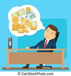 homem negócios, aproximadamente, sonhar, dinheiro