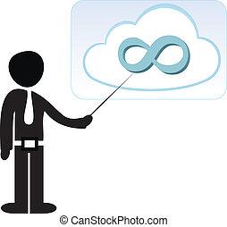 homem negócios, armazenamento, nuvem, apontar, dados