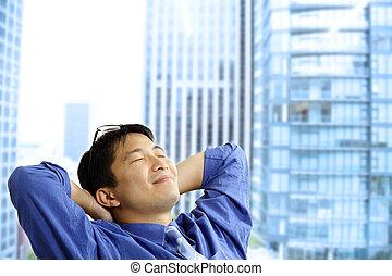 homem negócios, asiático, descansar