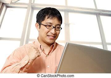 homem negócios, asiático, feliz