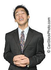 homem negócios, asiático, tranquilizante