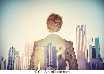 homem negócios, aspires, sucesso