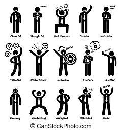 homem negócios, atitude, personalidades