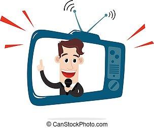 homem negócios, atrás de, tela tv