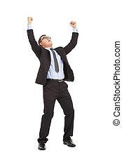 homem negócios, aumento, braços cima, ganhar, a, competição
