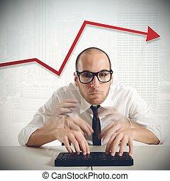 homem negócios, aumento, financeiro, produtividade