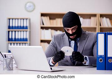 homem negócios, balaclava, criminal, escritório