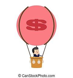 homem negócios, balloon, ícone, ar quente
