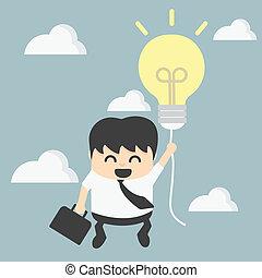 homem negócios, balloon, sucesso