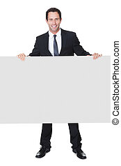homem negócios, bandeira, apresentando, vazio