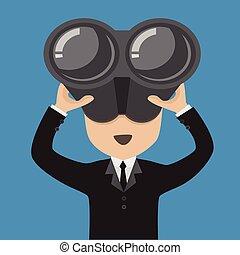 homem negócios, binoculars.