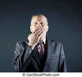 homem negócios, bocejar