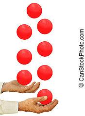 homem negócios, bolas, juggling, muitos