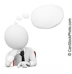 homem negócios, bolha, pensamento, pessoas., 3d, branca