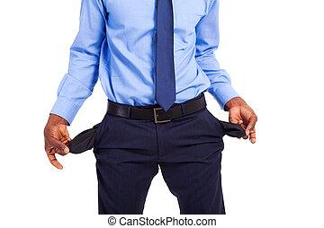 homem negócios, bolsos vazios, africano