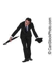 homem negócios, bowing., britânico