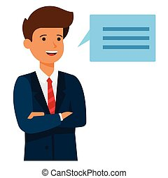 homem negócios, brainstorm, fala, caricatura, apartamento, vetorial, ilustração, conceito, ligado, isolado, fundo branco