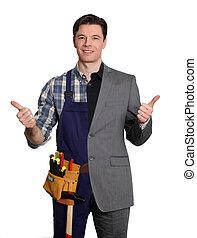 homem negócios, branca, carpinteiro, fundo