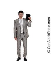 homem negócios, branca, diário, isolado, fundo