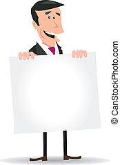 homem negócios, branca, em branco, segurando, sinal