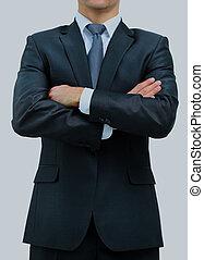 homem negócios, branca, isolado, experiência.