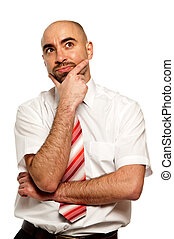 homem negócios, branca, isolado, fundo
