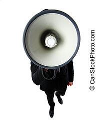 homem negócios, branca, megafone, isolado, fundo